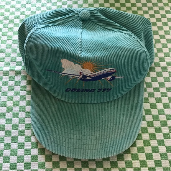 aa1076692fb Rare Boeing Retro 70s 90s Teal Corduroy Dad Hat. M 5b088a0bc9fcdf69739157f6